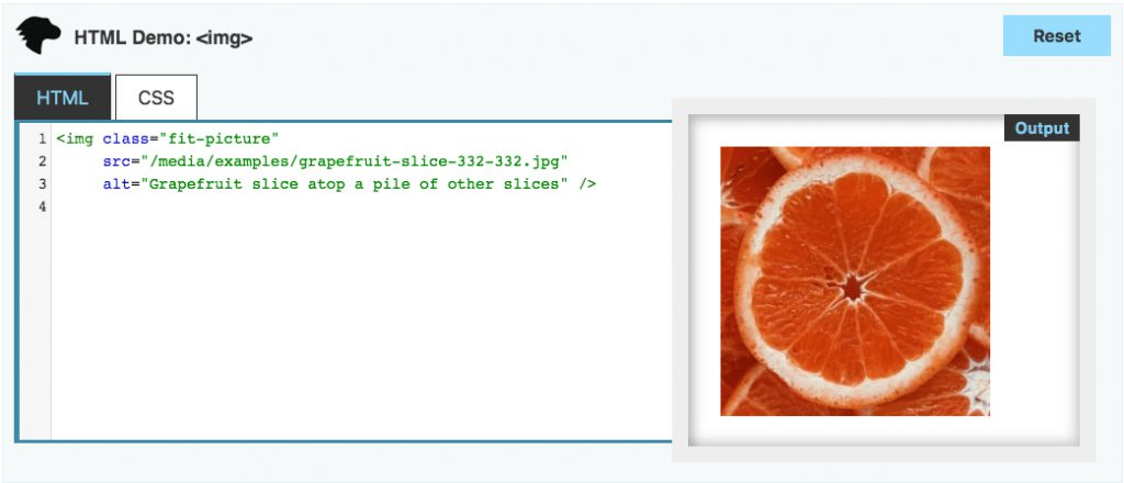 MDN Image Example: HTML source and resulting image of a grapefruit