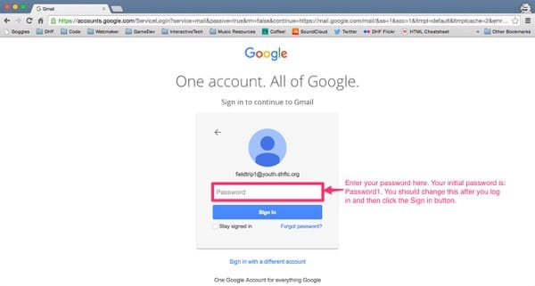 Gmail login screen with the password box highlighted and annotated