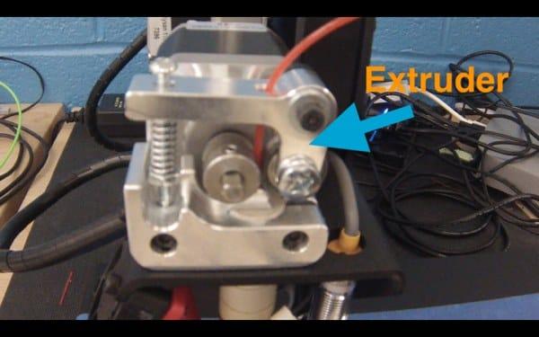 Closeup of a 3D printer's extruder