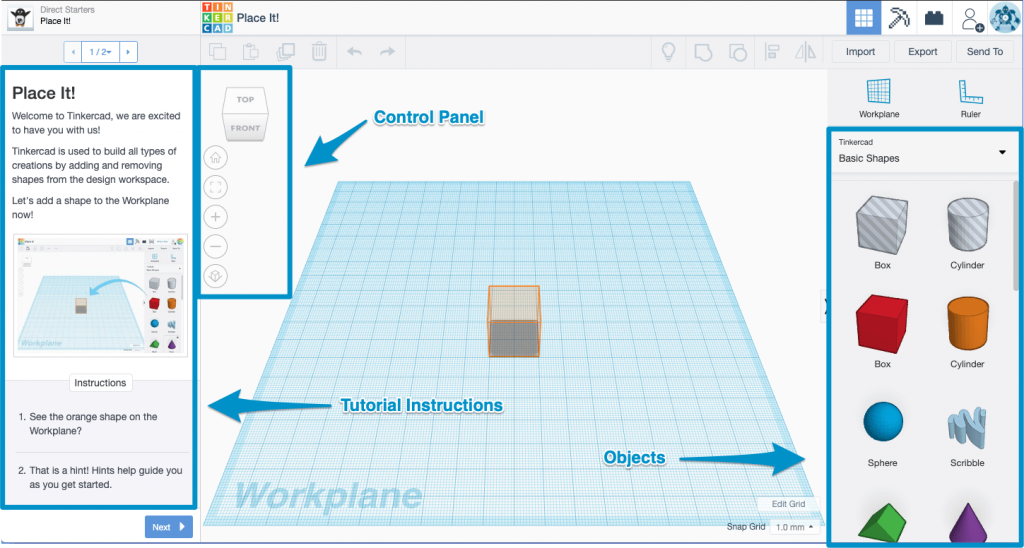 Tinkercad lesson interface with annotations showing the control panel, tutorial instructions, and objects