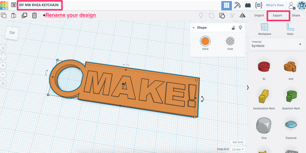 Tinkercad workplane with the Export and filename annotated