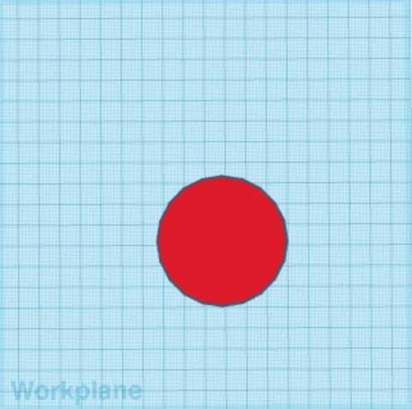 Red cylinder on the Tinkercad workplane