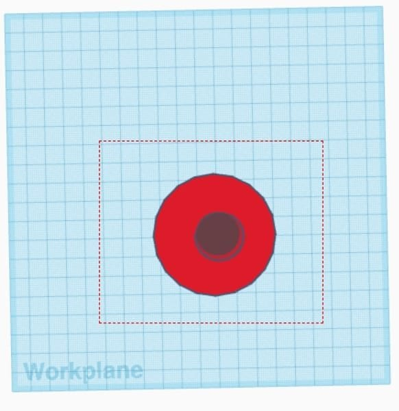 Red cylinder and hole selected top view