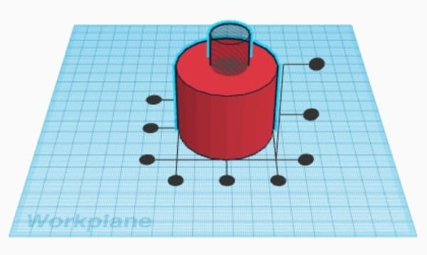 Tinkercad alignment axes shown for cylinder and hole