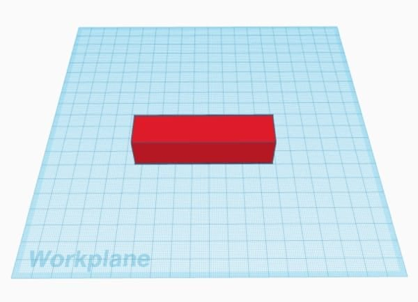 Red rectangle on the Tinkercad workplane