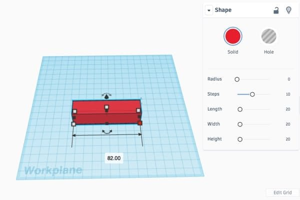 Red rectangle on the Tinkercad workplane with width dimension visible