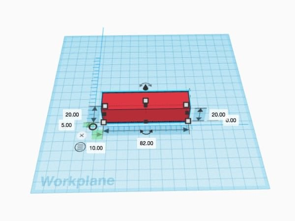 Adding a ruler to the red rectangle on the Tinkercad workplane