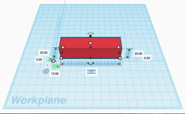 Ruler showing all available editable dimensions on the red rectangle in Tinkercad