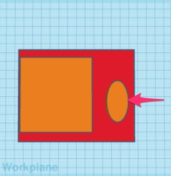 Red and orange rectangles and orange cylinder on the Tinkercad workplane