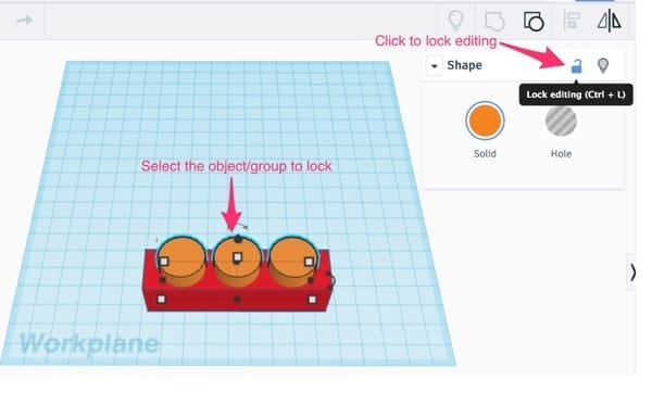 Orange cylinders selected with Lock Tool panel open in Tinkercad