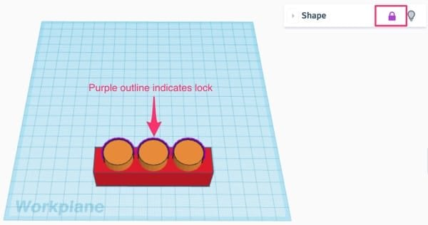 Annotating the purple outline indicating lock in orange cylinders in Tinkercad