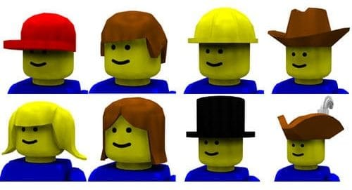 Eight mini-Figs with a variety of hats