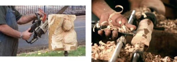 Two examples of wood carving: chainsaw and chunk of wood and lathe