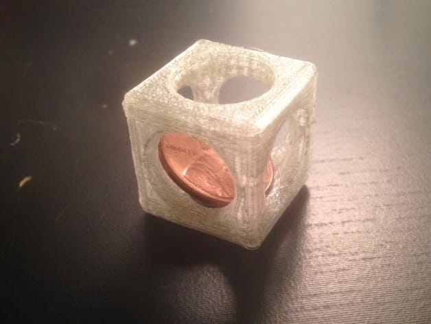 3D printed penny trap – a penny inside a 3D printed cube