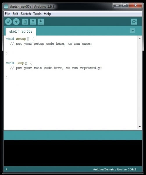 Arduino IDE sketch without line numbers shown