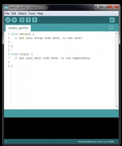 Arduino IDE sketch with line numbers shown