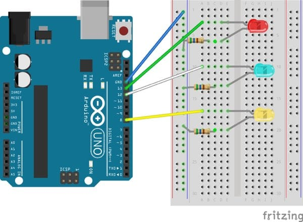Fritzing diagram showing an Arduino and breadboard connection with multiple LEDs on it