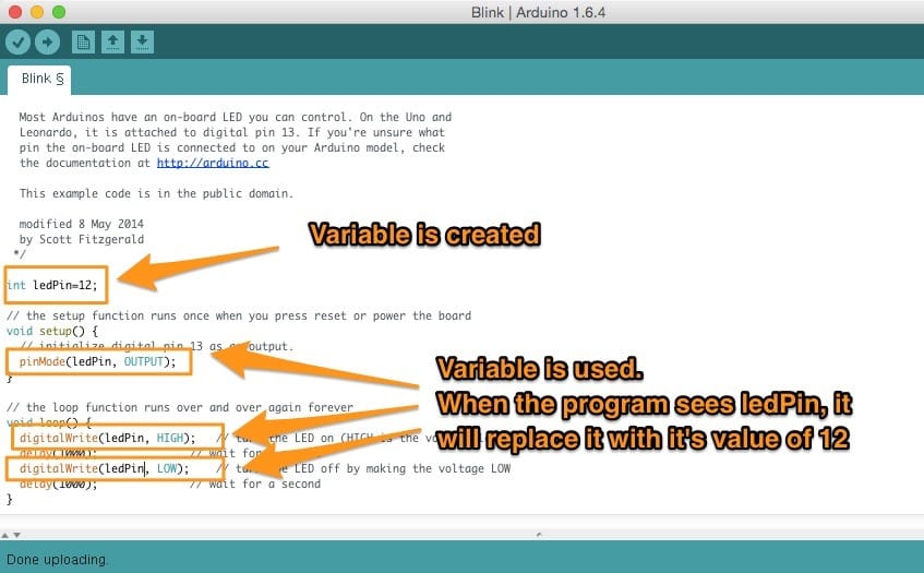 """Arduino IDE with the """"Blink"""" sketch using variables and annotations pointing out when the variable is created and used"""
