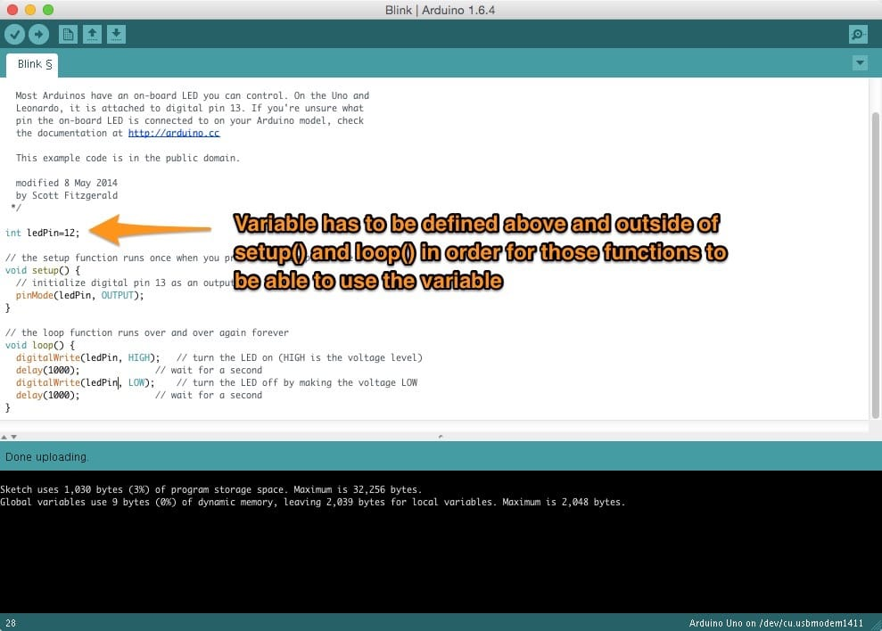 """Arduino IDE showing the """"Blink"""" sketch with variables and an annotation pointing out the variable's scope"""