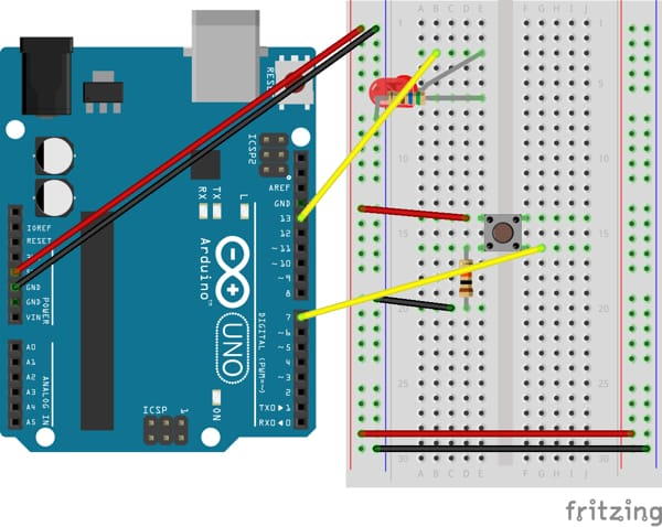 Fritzing circuit diagram showing an Arduino Uno and a breadboard connected with an LED and pushbutton