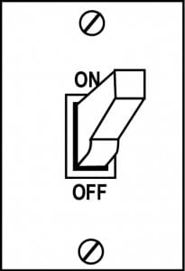 Diagram of a light switch set to 'On'