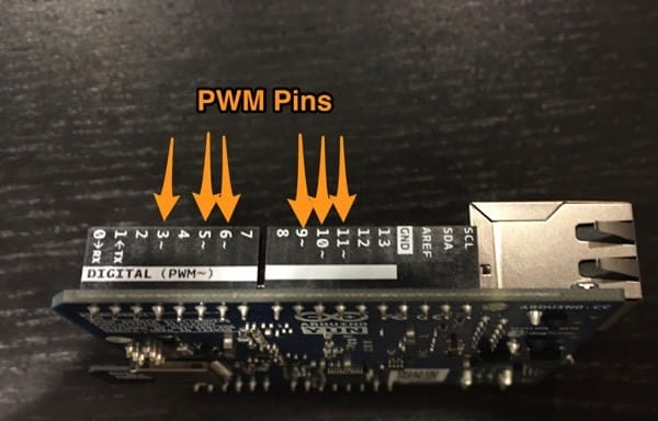 Arduino Yun board with annotations pointing to the PMW pins (3, 5, 6, 9, 10, 11)