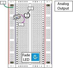 Circuit diagram for the fading LED/analog output circuit