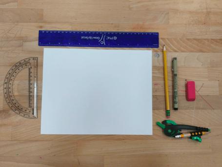 Materials (ruler, paper, protractor, compass, pen, pencil, eraser) sitting on a desk