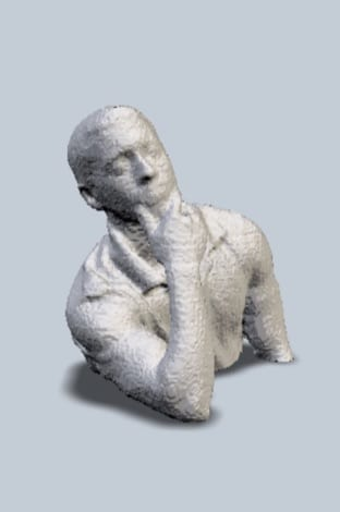 3D model of a man with his chin in his hand