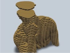 Cardboard model of a man holding his chin sliced into layers