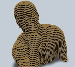 Cardboard model of a man holding his chin sliced into layers with all layers stacked