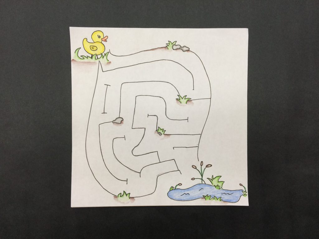 Magnetic maze with a duck and a pond