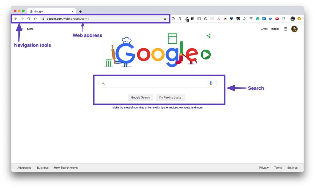 """Chrome browser showing Google with boxes drawn around the """"web address bar"""" and """"search bar."""""""