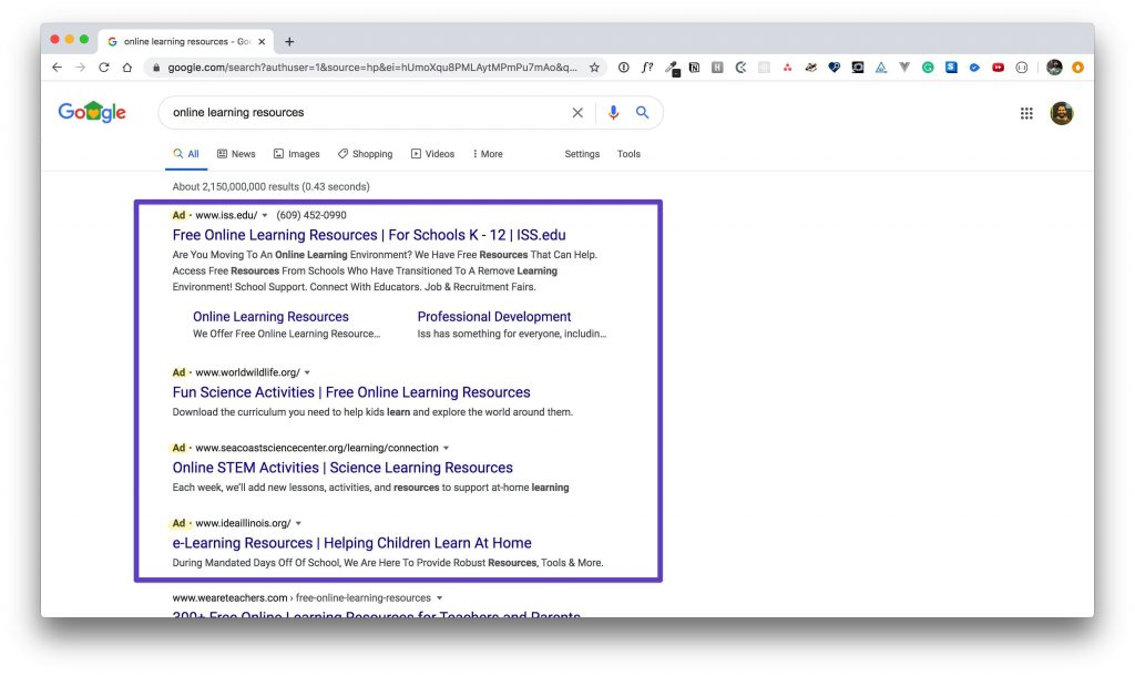 Google search results with a box drawn around advertisements.