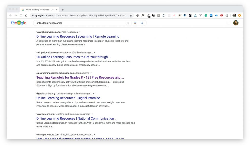 """Google search results page showing results for the search term """"online learning resources."""""""