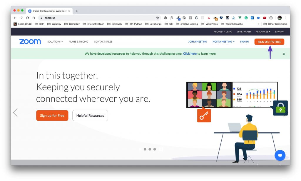 """Zoom homepage with an arrow drawn to the """"Sign Up, It's Free"""" button."""