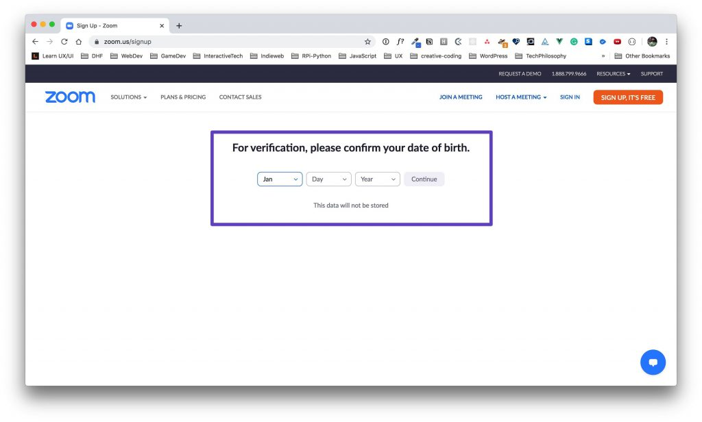 Zoom signup age verification page.