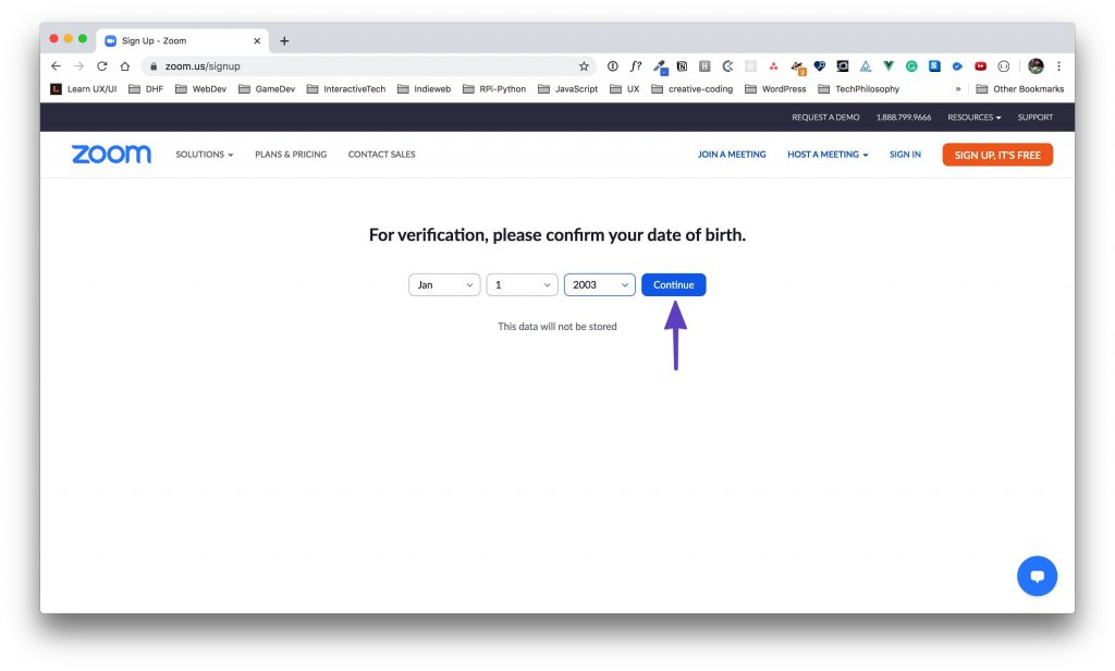 Zoom signup age verification page with a birthday entered and an arrow drawn to the continue button.