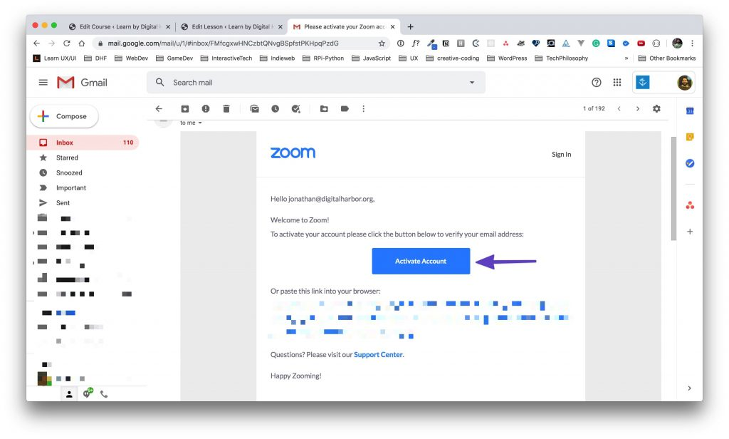"Email showing the confirmation email from Zoom with an arrow drawn around the ""Activate Account"" button."