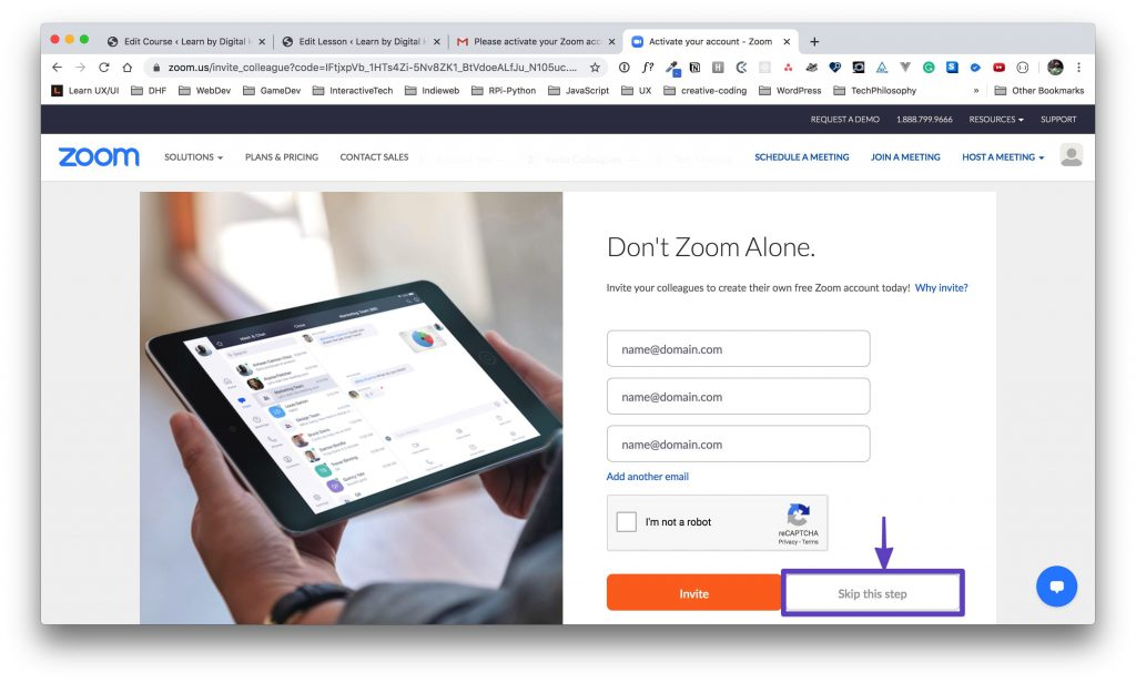 "The ""Don't Zoom Alone"" page with an arrow pointing to the ""Skip this step"" button."