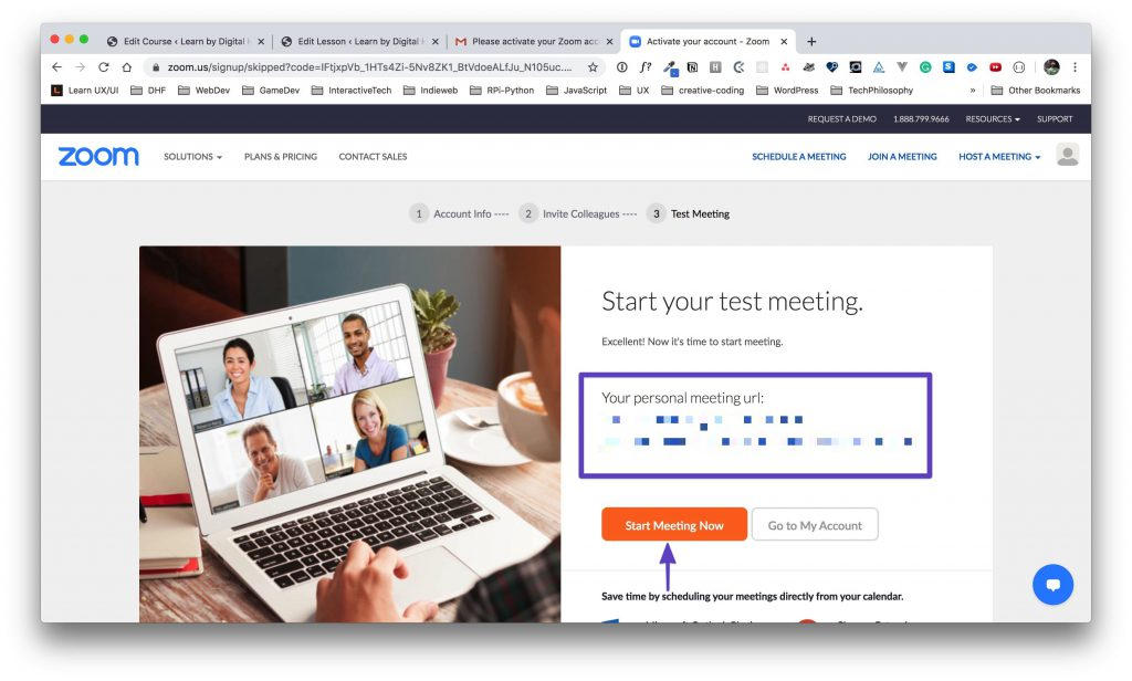 """Zoom """"personal meeting url"""" example with the actual URL blurred out, and an arrow drawn around the """"Start Meeting Now"""" button."""