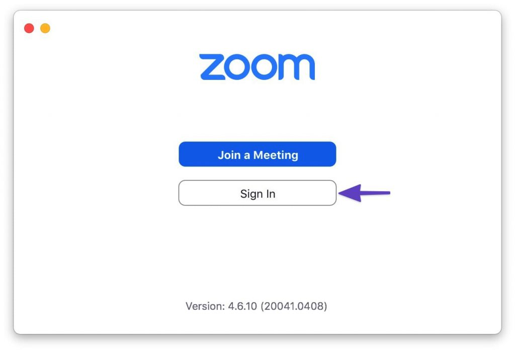 "Zoom interface showing the ""Join a Meeting"" and ""Sign In"" buttons with an arrow pointing to the ""Sign in"" button."