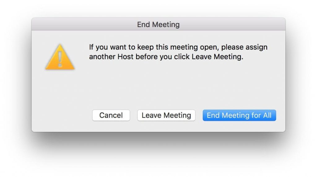 "Zoom ""End Meeting"" confirmation alert."