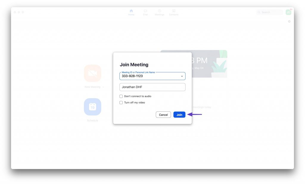 "Zoom ""Join Meeting"" window with sample meeting information and an arrow pointing to the ""Join"" button."