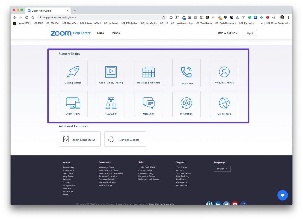 """Zoom Help Center page with a box drawn around the """"Support Topics"""" section."""
