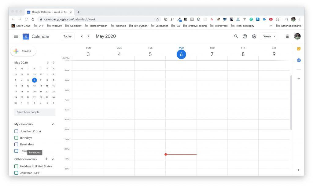 Google Calendar main calendar view.