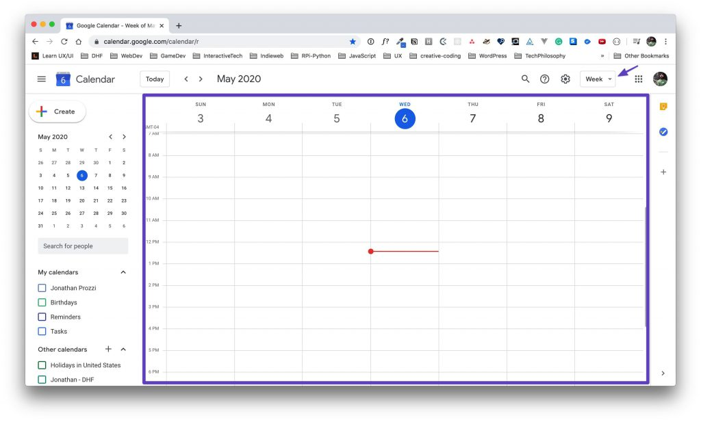 Box drawn around the Google Calendar main view.