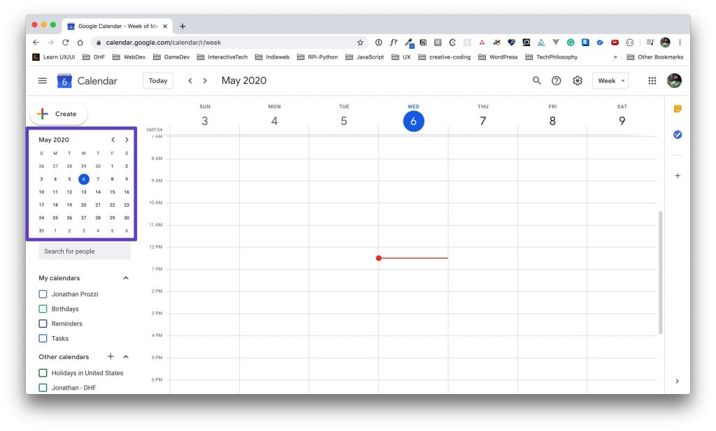 Google Calendar page with a box drawn around the month view in the left sidebar.