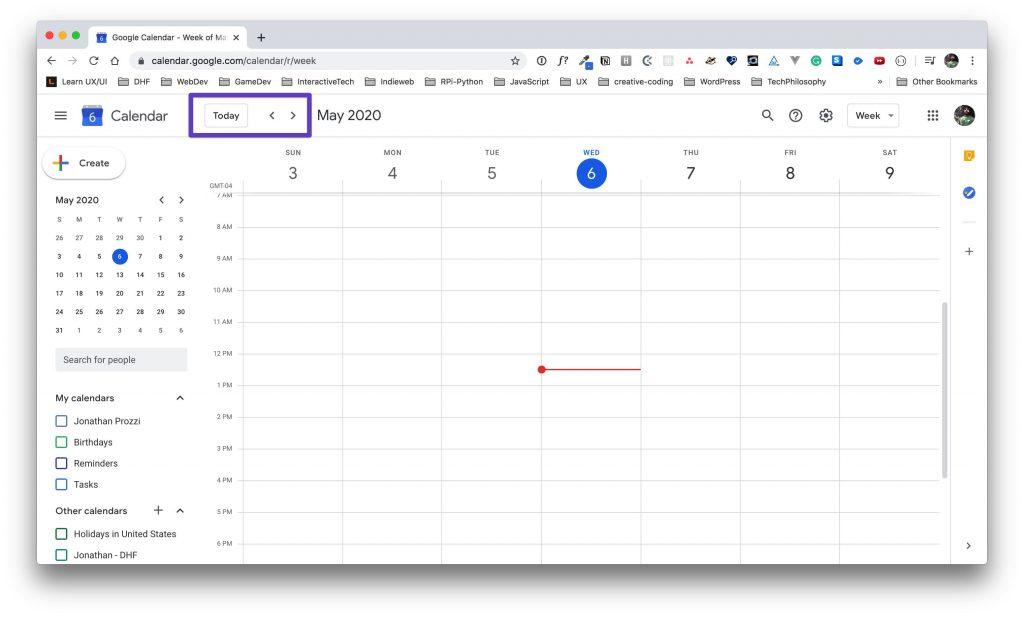 Google Calendar main view with a box drawn around the navigation toolbar.