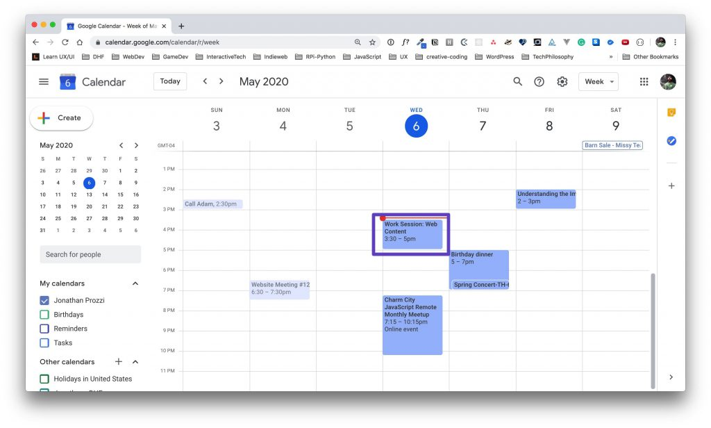 """Google Calendar display with a box drawn around the """"Work Session"""" event."""